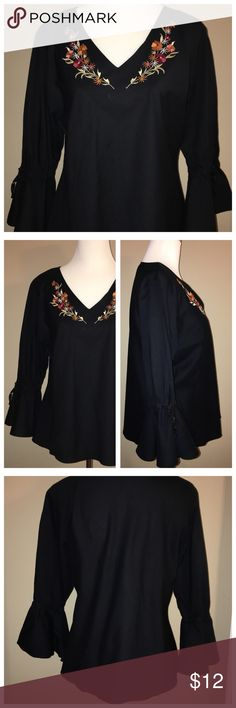 NWOT.  Peasant Blouse with Embroidered Neckline Bell sleeves with adjustable ties. 100% Cotton. New, never worn. Charlie's Court Tops Blouses