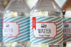 Vintage train water bottle labels birthday by saralukecreative, $5.00