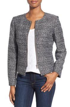 Halogen® Zip Front Tweed Jacket (Regular & Petite)