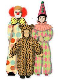 Gratis Schnittmuster für Kinderkostüm: Katze,Bär,Maus,Clown,Harlekin