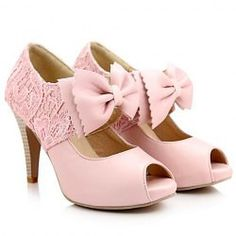 Sweet Women's Peep Toed Shoes With Bow and Lace Design