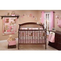 Little Bedding by NoJo - Dreamland Teddy 10pc Nursery in a Bag Crib Bedding Collection, Girl - Value Bundle