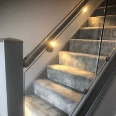 Our Wonderful Gallery of Staircases Refurbishments | Stairfurb's Gallery Oak Newel Post, Newel Post Caps, Wall Mounted Handrail, Oak Handrail, Stainless Steel Handrail, Stair Lighting, Glass Balustrade, Newel Posts, Weird Shapes