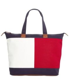 TOMMY HILFIGER Tommy Hilfiger Flag Colorblock Top Zip Tote. #tommyhilfiger #bags #leather #hand bags #canvas #tote #