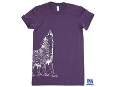 WOLF T shirt American Apparel Womens tshirt S M L by Inaprinting, $21.00