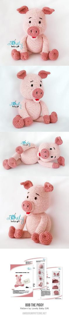 Crochet Amigurumi Ideas Crochet Pig Pattern The Cutest Collection Ever! Crochet Pig, Crochet Amigurumi, Cute Crochet, Amigurumi Patterns, Crochet Animals, Crochet For Kids, Crochet Crafts, Crochet Dolls, Yarn Crafts
