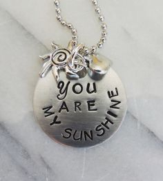 Handcrafted and Handstamped You are My Sunshine by JewelryReflects