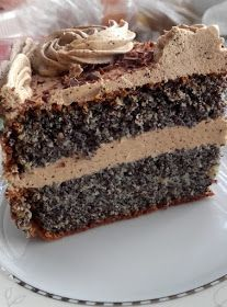 I stuff my ideas: Poppy cake with coffee cream Cookie Desserts, No Bake Desserts, Cookie Recipes, Dessert Recipes, Polish Cake Recipe, Polish Recipes, Homemade Fondant, First Communion Cakes, Sweet Cakes