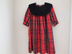 Size 3 4T Toddler Girl Red Plaid Dress  Clothes by LittleMarin,