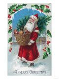 A Merry Christmas Santa Holding Basket of Toys Scene. A Merry Christmas Santa Holding Basket of Toys Scene Art Print by. Product size approximately 12 x 16 inches. Available at Art.com. Embrace your Space - your source for high quality fine art posters and prints.. Price: $24.99