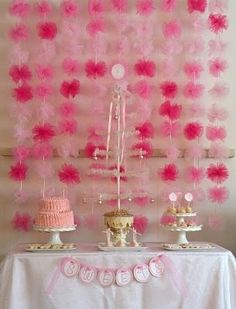 tulle pom pom garland/backdrop by delia
