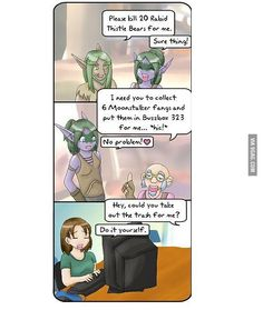 Quests in real life and quests in World Of Warcraft Warcraft Comics, Warcraft Funny, World Of Warcraft Gold, Best Artist, Nerd Stuff, Funny Comics, Best Funny Pictures, Real Life, Addiction