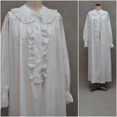 Vintage nightdress, Victorian / Edwardian white cotton nightie, Broderie Anglaise / lace trim, Full length night gown, theatrical costume by VintageGreenClothing on Etsy