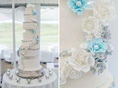 Stunning 8 Tier Wedding cake set up in marquee