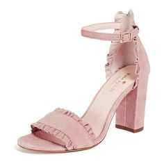 odelle block heel sandals by Kate Spade New York. Ruffles: not just for clothing anymore. This pair of Kate Spade New York pumps has gone ahead and ramped up the feminine charm with some ruffly details added to the already-dainty dusty pink suede. Leather: Kidskin Ruffles Pumps Chunky h... #katespadenewyork #nudeshoes #sandals