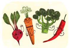 Vegetable illustration by Malota - normal vegtables with drawing over giving a cartoon effect