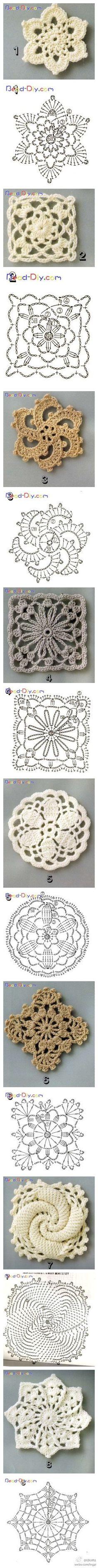 Schéma ou diagramme pour crochet Modèle divers de carrés et ronds