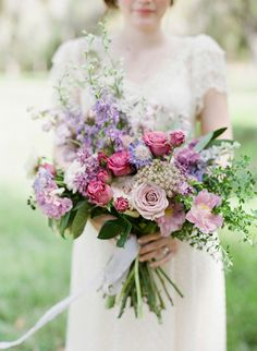 Lavender and Rose Springtime Wedding Inspiration, pastel lavender, lilac and rose wedding bouquet. bohemian chic