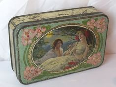Old Biscuit Tin - Nice Picture with 2 ladies.I love this. I've got one just like it. It was my Mums.