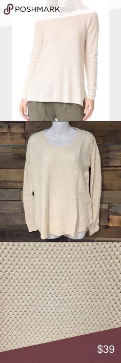 "Madewell cream basketweave sweater. Size Large Excellent condition Madewell cream basketweave sweater. Size Large. 25"" long cotton/viscose/nylon blend Madewell Sweaters Crew & Scoop Necks"