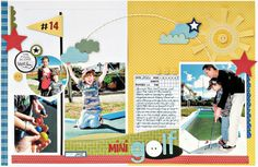 Love this bright double page design...Brookside mini golfing page
