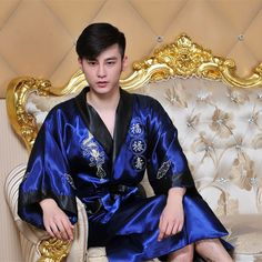 Chinese Red Navy Blue Reversible Men s Kimono Gown Chinese Male Two Side Satin  Robe Embroidery Dragon c72392ee1