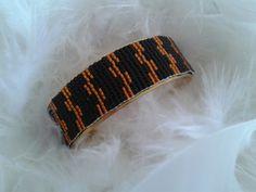 bracelet manchette en laiton tissé avec des perles miyuki : Bracelet par yedura