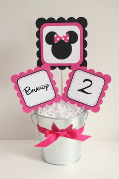 free minnie mouse printables | Minnie Mouse Party Line: Hot Pink & Black