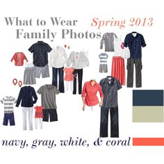 What to wear for our first big family photo, navy, gray, white, & coral.