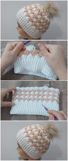 Crochet Beanie Hat Basket Weave Stitch - knitting is as easy as 3 That . - Crochet Beanie Hat Basket Weave Stitch - knitting is as easy as 3 That . - Wellecraft Crochet For Beginners crochetbegin Crochet Beanie Hat, Crochet Shawl, Beanie Hats, Crochet Stitches, Free Crochet, Knitted Hats, Knit Crochet, Crochet Patterns, Hat Patterns