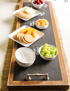Easy DIY Chalkboard Tray for a wine and cheese party!