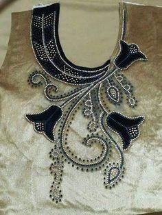 Not around the neck but down the side Zardozi Embroidery, Embroidery On Kurtis, Kurti Embroidery Design, Bead Embroidery Patterns, Embroidery Works, Embroidery Fashion, Embroidery Dress, Beaded Embroidery, Embroidery Thread