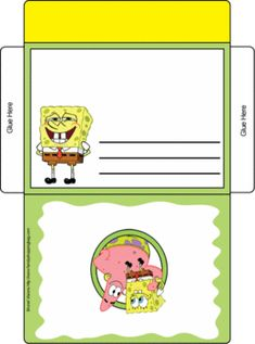 Spongebob Envelope Card Invitations Templates Printable Cards Paper