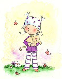 Blonde Girl in Purple With Yellow Cat  - I LOVE MY Cat - 8x10 Art Print - Children