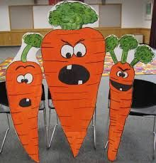 Book: Creepy Carrots by Aaron Reynolds, Illustrated by Peter Brown Props: Big Cutout Carrots, Mirror, Bunny Ears, Bedtime stuff Pupp. Book Costumes, Teacher Costumes, Library Lessons, Art Lessons, Library Ideas, Halloween Science, Halloween Kids, Spring Bulletin Boards, Library Science