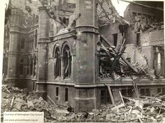 The Arkwright building in 1941 when part of it was bombed in WW2