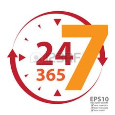 24 hour work: Red 24 7 365 With Clock and Arrow Sign Icon or Label Isolated on White Background