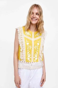 70012cfe336 Zara Lace Contrast Yellow White Blouse Top Shirt Size M New  fashion   clothing