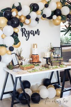 Topllon Gold Balloons Black Balloons 12 Inch 73 Pcs Matte Latex Balloons Garland Arch Kits For Baby Showerbachelorette Party Wedding Party Decoration Balloon iDeas 🎈 30th Birthday Party For Him, Husband Birthday Parties, Birthday Gifts For Teens, Boy First Birthday, Birthday Party Themes, Birthday Party Decorations For Adults, 1 Year Birthday, Birthday Ideas, Balloon Decorations Party