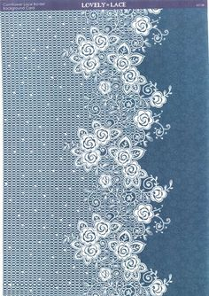 Kanban Crafts - Lovely in Lace - printed background card - Cornflower Lace Border