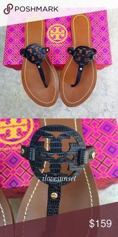 ✨🆕✨{Tory Burch} Navy Mini Miller Color: navy blue, snake skin ...Brand new , never been worn. No box but I'll mail them in another Tory Burch box I have. Please know/be familiar to your own Tory Burch sizing. ❗️Price is firm, unless bundled ❗️   ❌ NO TRADES - SELLING ON POSH ONLY ❌ ❌ NO LOWBALLING ❌  ✅ Bundle Discounts ✅ Ship Next Day of Purchase  💯 % AUTHENTIC Tory Burch Shoes Sandals