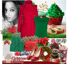 """""""Red and Green in Christmas Time with oasap.com"""" by siska-w ❤ liked on Polyvore"""
