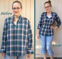 excellent tutorial for Plaid Shirt Refit Before & After. great Blog for refashions