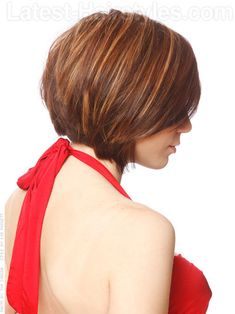 Love this color ---  Short Tapered Caramel Forward Tapered Cut Side View