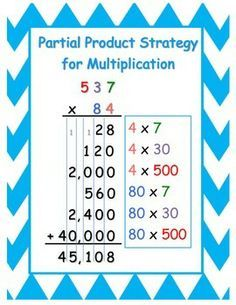 Multiplication and division to reach all learners! Complete with partial product, partial quotient, traditional, array, lattice, and base ten strategies. Includes student anchor charts, practice pages, and answer keys for each method. Partial Product Multiplication, Math Multiplication, Maths, Math Games, Math Worksheets, Math Resources, Math Division, Math Helper, 5th Grade Math