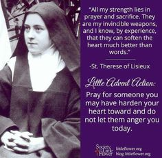 """How great is the power of Prayer! One could call it a Queen who has at each instant free access to the King and who is able to obtain whatever she asks. St Therese of Lisieux quote for Thursday of third week of Lent. As quoted by Fr Gary Caster in his book """"The Little Way Of Lent"""""""