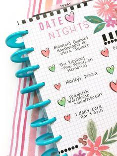DIY 'Date Night' Bucket List page using Happy Planner grid paper by mambi Design Team member Katie Barton | me & my BIG ideas