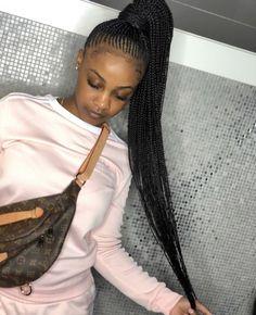 49 Amazing Lemonade Braids Hairstyles For 2018 That Attract Your Friends - Fashionuki Braided Ponytail Hairstyles, Black Girl Braids, Braided Hairstyles For Black Women, African Braids Hairstyles, Braids For Black Hair, Girls Braids, Weave Hairstyles, Girl Hairstyles, Feed In Braids Ponytail