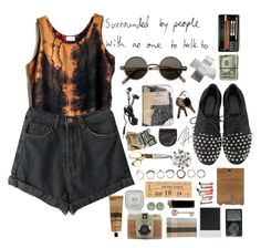 """""""Saturday Detention"""" by sparkling-oceans ❤ liked on Polyvore featuring BAGGU, GIENCHI, Iosselliani, Polaroid, ULTA, Advantus, Lomography, Aesop, Punk and grunge"""