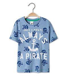 Kurzarmshirt mit coolem Piraten-Motiv in der Farbe blau-melange bei C&A